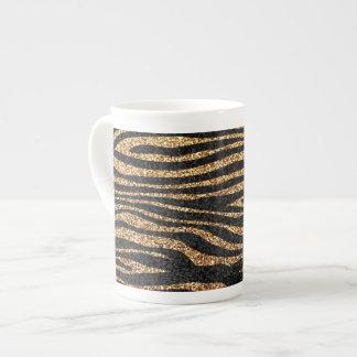 Gold zebra stripe pattern faux glitter bling bone china mugs