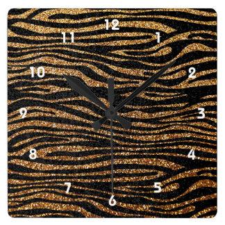 Gold zebra stripe pattern (faux glitter bling) square wall clock