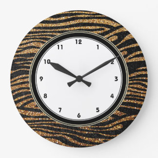 Gold zebra stripes print (faux glitter bling) wall clocks