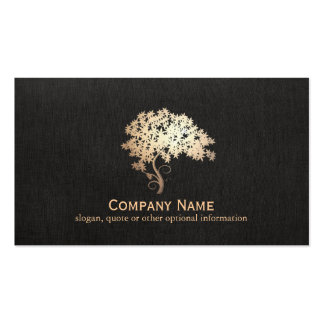 Gold Zen Tree Holistic and Natural Health Logo Pack Of Standard Business Cards