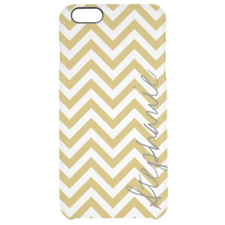 Gold Zigzag Stripes Chevron Pattern Name | Apple Clear iPhone 6 Plus Case
