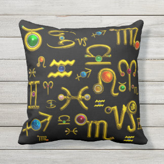 GOLD ZODIAC BIRTHDAY JEWELS,GEMSTONES,ASTROLOGY OUTDOOR CUSHION