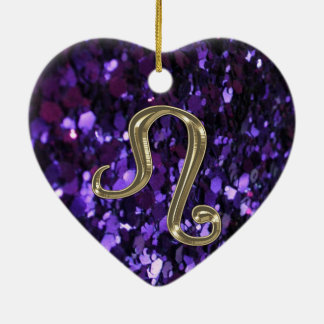 Gold Zodiac Sign Leo on Purple Glitter Ornament