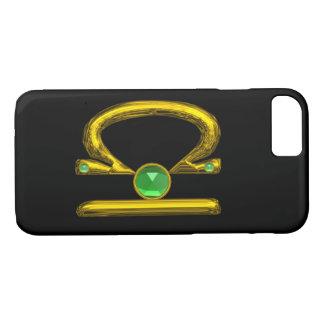 GOLD ZODIAC SIGN LIBRA Green Emerald Gemstone iPhone 8/7 Case