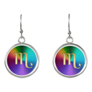 Gold Zodiac Sign Scorpio On Hot Rainbow Earrings