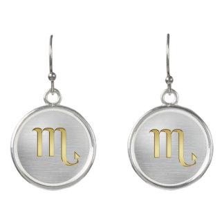 Gold Zodiac Sign Scorpio On Silver Earrings