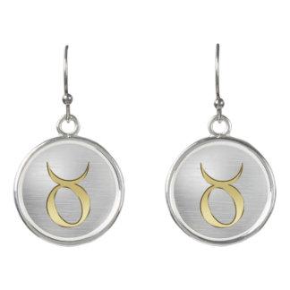 Gold Zodiac Sign Taurus On Silver Earrings