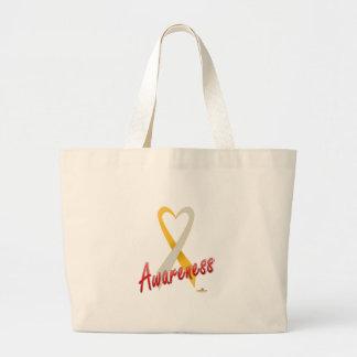 GoldAndSilverHeartRibbonAwareness Bag
