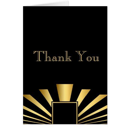 Golden 1920s Art DecoThank You Note Card