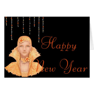 Golden 1920's Retro Woman Happy New Year Card