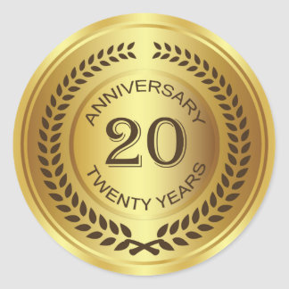 Golden 20th Anniversary with laurel wreath Sticker