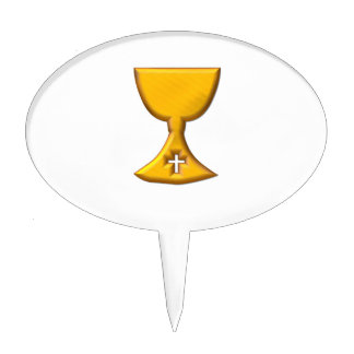 """Golden """"3-D"""" Chalice Cake Toppers"""