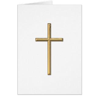"""Golden """"3-D"""" Cross Greeting Card"""