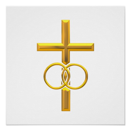 Golden 3-D Cross with Wedding Rings Poster