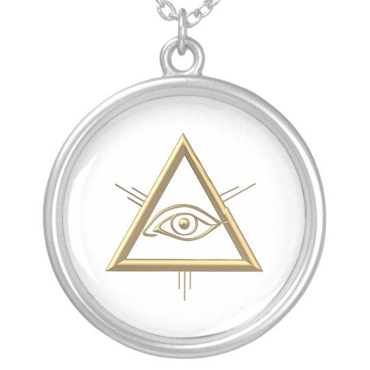 "Golden ""3-D"" God's Eye Symbol Silver Plated"