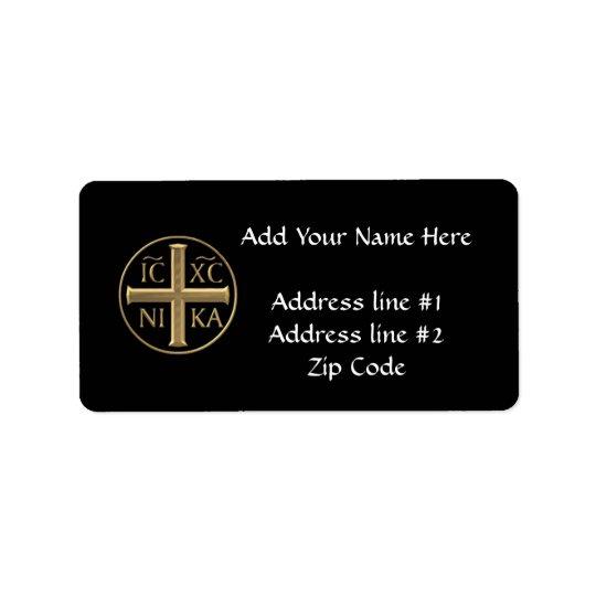 """Golden """"3-D"""" Jesus Christ: Conquers Address Label"""
