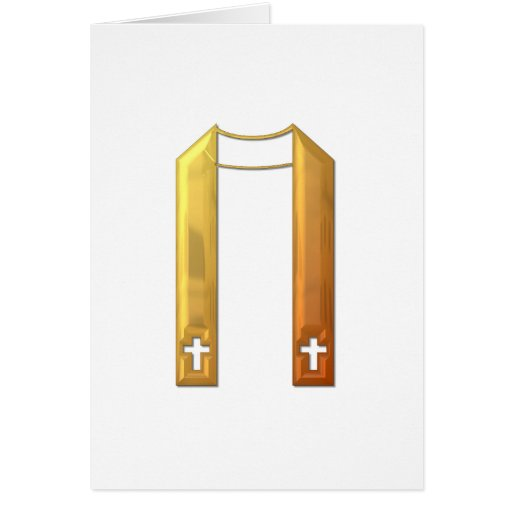 """Golden """"3-D"""" Liturgical Stole Card"""