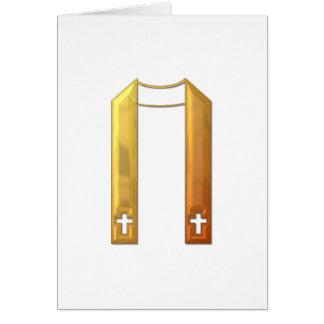 """Golden """"3-D"""" Liturgical Stole Greeting Card"""