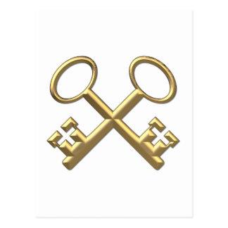 """Golden """"3-D"""" St. Peter's Keys Postcard"""