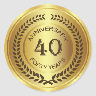 Golden 40th Anniversary with laurel wreath Sticker
