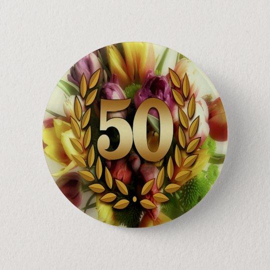 Golden 50TH Anniversary 6 Cm Round Badge