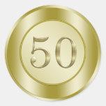 Golden 50th Anniversary Classic Round Sticker