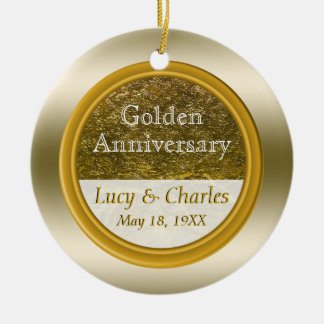 Golden 50th Anniversary | Custom Wedding Keepsake Christmas Ornament