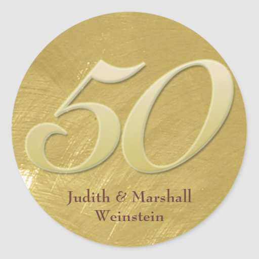 Golden (50th) Anniversary Faux Metal-Look Round Stickers