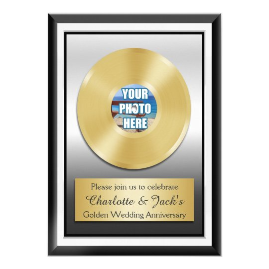 Golden 50th Anniversary Personalised Gold Record Card