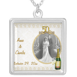 Golden 50th Anniversary Photo Pendant