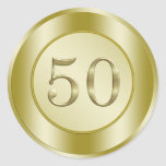 Golden 50th Anniversary Round Sticker