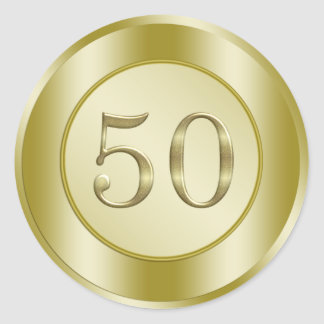 Golden 50th Anniversary Round Sticker