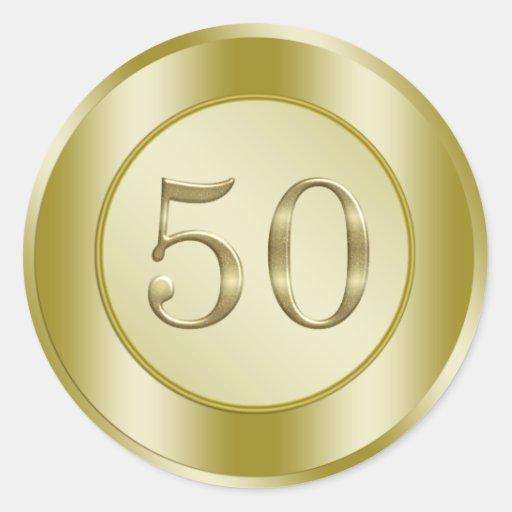 Golden 50th Anniversary Stickers