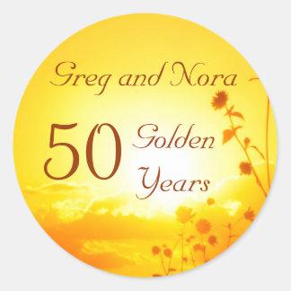 Golden 50th Anniversary Sticker Customizable
