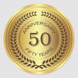 Golden 50th Anniversary with laurel wreath Sticker