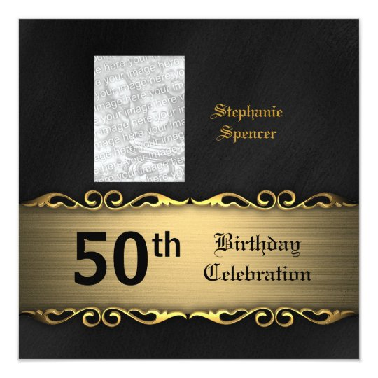 Golden 50th Birthday Celebration Invitation
