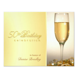 "Golden 50th Birthday Party Invitations 4.25"" X 5.5"" Invitation Card"