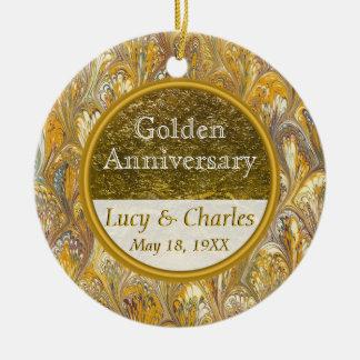 Golden 50th Wedding Anniversary   Custom Keepsake Christmas Ornament