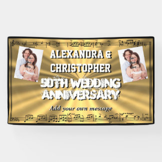 Golden 50th wedding anniversary custom photo banner