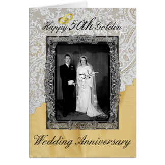 Golden 50th Wedding Anniversary Elegant Card