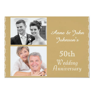 Golden anniversary wedding invitations zazzle golden 50th wedding anniversary invitation stopboris Images