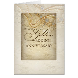 Golden 50th Wedding Anniversary, Pearls and Lace Greeting Card