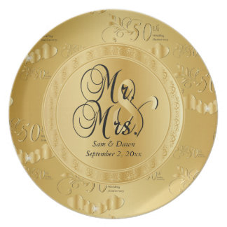 Golden 50th Wedding Anniversary Plate
