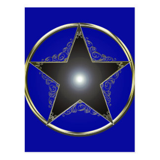 Golden 5 Point Star 2 Postcard