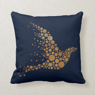 Golden Abstact Bird Pillow