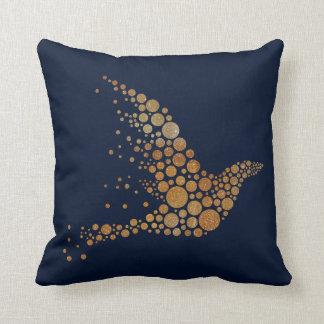 Golden Abstact Bird Pillow
