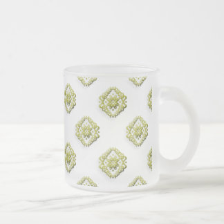 Golden Abstract Flowers On Frosted Mugnificence Frosted Glass Mug