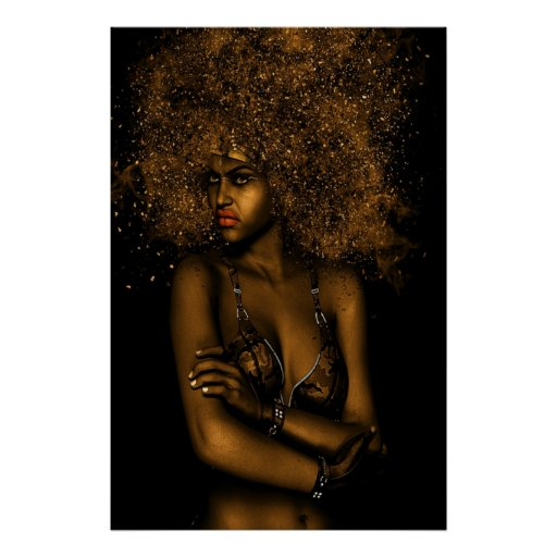 Golden Afro Woman Poster