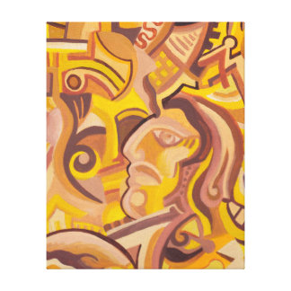Golden Age Abstract Art Face Wrapped Canvas Print