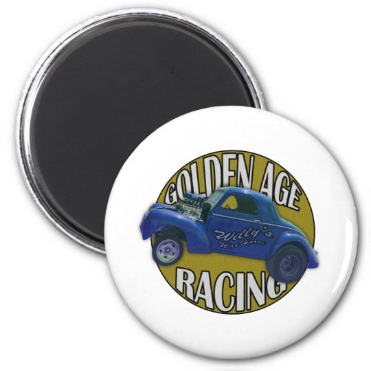 Golden Age Willys Gasser Drag Racing Blue and Gold 6 Cm Round Magnet